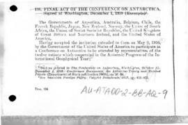 Final Act of the Conference on Antarctica signed at Washington on 1 December 1959