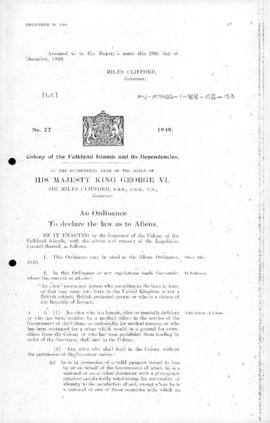Falkland Islands Dependencies, law of Aliens ordinance, no 22 of 1949