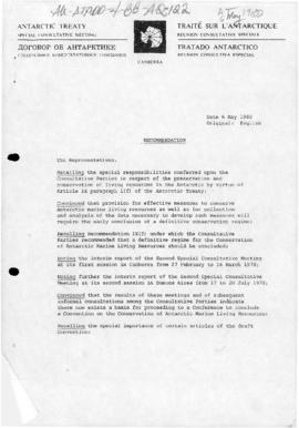 Special Antarctic Treaty Consultative Meeting papers, Canberra, May 1980