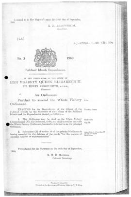 Falkland Islands Dependencies, Whale Fishery (Amendment) (No. 2) Ordinance, no 5 of 1960