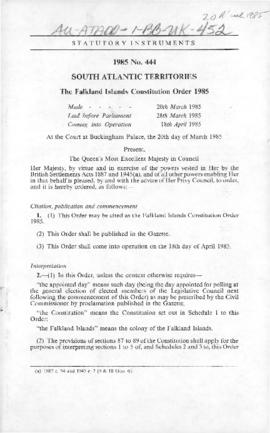 United Kingdom, South Atlantic Territories, Falkland Islands Constitution Order 1985