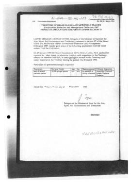 Commonwealth of Australia Gazette, Territory of Heard Island and McDonald Islands, Environment Protection and Management Ordinance 1987, permits for Australian National Botanic Gardens