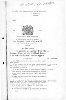 United Kingdom, Falkland Islands, Appeals Ordinance, No 3, 1966