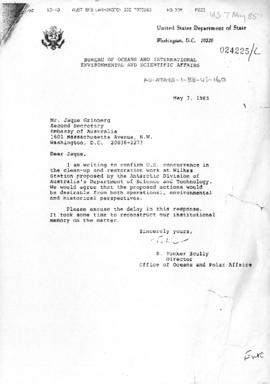 United States, Department of State, letter concerning Wilkes Station