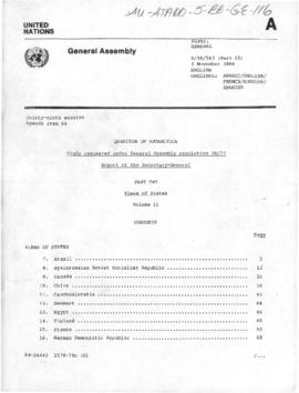 "United Nations General Assembly, 39th session, ""Question of Antarctica"", Views of States, Volume II"