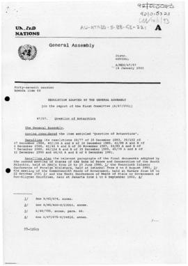 "United Nations General Assembly, Forty-Seventh session ""Resolution adopted by the General Assembly"" (A/Res/47/57). Includes 1993-03-16 memorandum from the Secretary-General to the Permanent Representative of Australia concerning the resolution."
