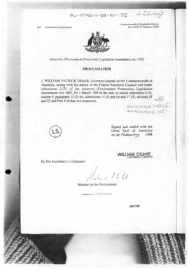 Commonwealth of Australia Gazette, Antarctic (Environment Protection) Legislation Amendment Act 1992, Proclamation
