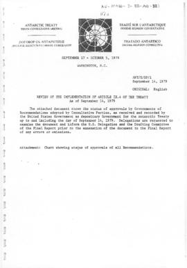 "Tenth Antarctic Treaty Consultative Meeting (Washington) Background paper 1 ""Review of imple..."