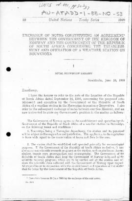 Exchange of notes between Norway and South Africa constituting an Agreement concerning the establ...