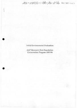 Initial environmental evaluation of the Australian Associated Press Mawson's Huts Foundation Conservation Program for 19997-98