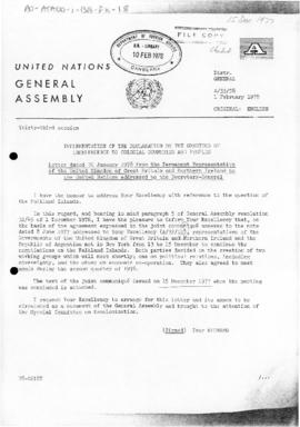 United Nations General Assembly, 33rd session, letters from the United Kingdom and Argentina conc...