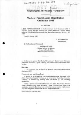 Medical Practitioners Registration Ordinance 1985 of the Australian Antarctic Territory