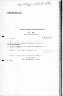 United Kingdom, Falkland Islands, various Regulations, Ordinances, Orders and Proclamations 1967 to 1977