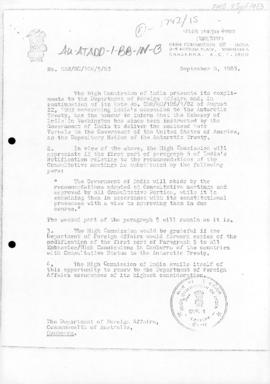 Indian note concerning accession to the Antarctic Treaty