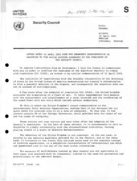 Argentine note to the United Nations Security Council  setting out reasons for military action in relation to South Georgia Island and the Falkland (Malvinas) Islands