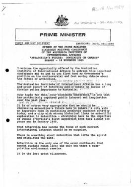 Australia, Prime Minister Bob Hawke, speech at Sixteenth National Conference of the Australian In...