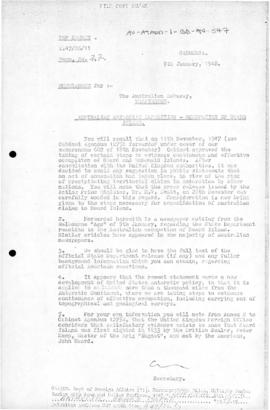 Memorandums on Australian occupation of Heard Island