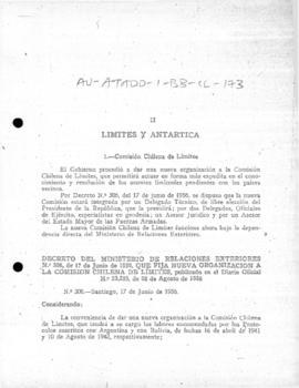 Decree no. 306 re-organising the Chilean Boundaries Commission