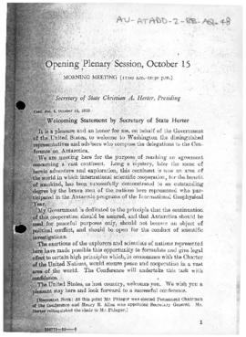 United States, The Conference on Antarctica 1959. Welcoming statement and other opening statements