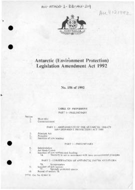 Antarctic (Environment Protection) Legislation Amendment Act 1992