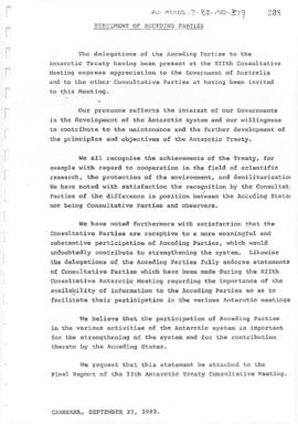 "Twelfth Antarctic Treaty Consultative Meeting (Canberra) Non-paper ""Statement of acceding parties"". Includes a related document on Department of Housing and Construction letterhead."