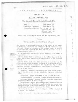 Falkland Islands, Antarctic Treaty Order in Council, no 570 of 1961
