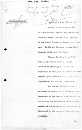 United Kingdom, Royal Commission for Sir Hubert Wilkins to claim territory between the Falkland I...