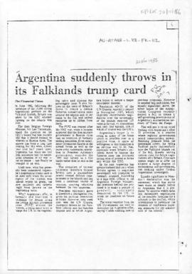 Press articles concerning the Falkland Islands after conclusion of hostilities, comprising articles between 1986 and 1995