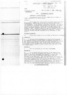 Australia, Department of External Affairs, Cablegram concerning Soviet Attitudes to the draft art...