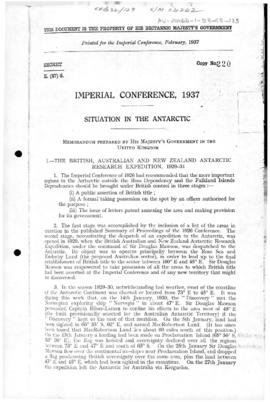 Imperial Conference 1937, situation in the Antarctic