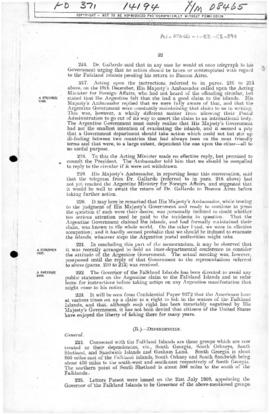 British Foreign Office memorandum concerning the Falkland Island dependencies