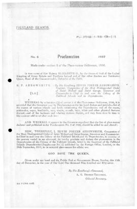 Falkland Islands, Proclamation under the Place-Names Ordinance, no 6 of 1957