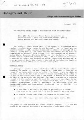 "United Kingdom, Foreign and Commonwealth Office, ""The Antarctic Treaty System: a mechanism f..."