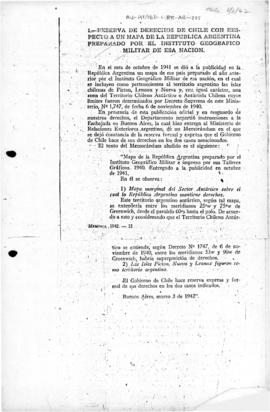 Chilean memorandum to Argentina reserving Chilean rights with regard to an Argentine map showing territory claimed by Chile as belonging to Argentina