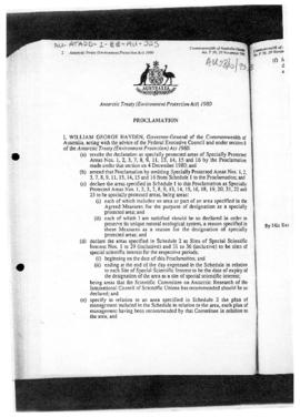 Proclamation concerning specially protected areas and sites of special scientific interest under the Antarctic Treaty (Environment Protection) Act of 1980