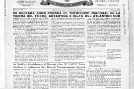 Argentina, Decree 6264 declaring Tierra del Fuego, the Antarctic Islands and the South Atlantic I...