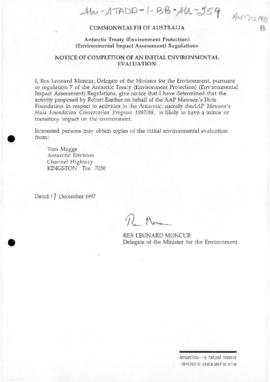 Australia, Notice of completion of an initial environmental evaluation of the conservation program for Mawson's Huts