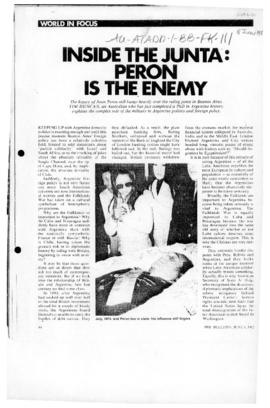 "Press article ""Inside the junta: Peron is the enemy"" The Bulletin"