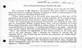British note to France enquiring whether France claimed Adélie Land