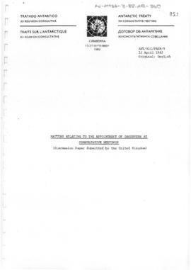 "Twelfth Antarctic Treaty Consultative Meeting (Canberra) Preparatory Meeting Paper 9 ""Matter..."