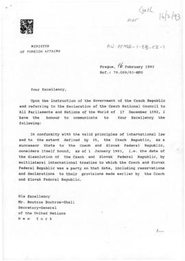 Czech Republic, Minister of Foreign Affairs letter to the Secretary-General of the United Nations, confirming the dissolution of the Czech and Slovak Federal Republics