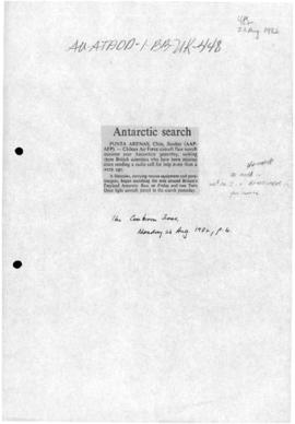 "Press article ""Antarctic search"", and other articles concerning the British, Brazilian ..."