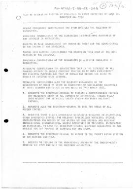 "United Nations General Assembly, Thirty-eighth session, First Committee, ""Text of Resolution adopted by consensus in First Committee of UNGA 38"". Includes draft Resolution by Antigua and Barbuda, Bangladesh, Malaysia, Pakistan, Philippines, Singapore, Sri Lanka and Thailand (A/C.1/38/L.80) and amendment by Sierra Leone (A/C.1/38/L.84)"