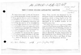 Report on the establishment of the US Antarctic Service, and correspondence to Byrd from Presiden...