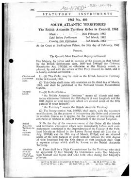 The British Antarctic Territory Order, 1962