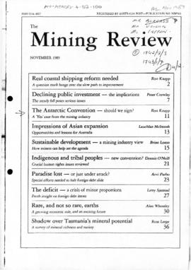 "Press article ""The Antarctic convention: should we sign? The 'Yes' case from the mining industry"" The Mining Review"