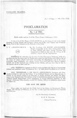 Falkland Islands, Proclamation under the place-names Ordinance, no 1 of 1961