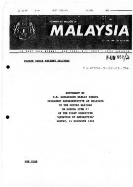 "Malaysia, Permanent Mission of Malaysia to the United Nations ""Statement by H E Ambassador Razali Ismail, Permanent Representative of Malaysia to the United Nations, on Agenda item 67 of the first Committee, Question of Antarctica"""