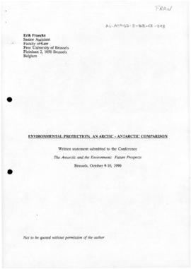 "Franckx, Erik ""Environmental protection: an Arctic-Antarctic comparison"" Conference on ..."