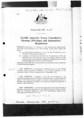 Australia, Statutory Rules 1983, Twelfth Antarctic Treaty Consultative Meeting (Privileges and Im...